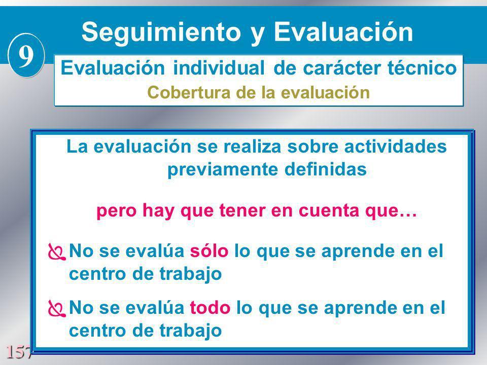 157 La evaluación se realiza sobre actividades previamente definidas pero hay que tener en cuenta que… No se evalúa sólo lo que se aprende en el centr