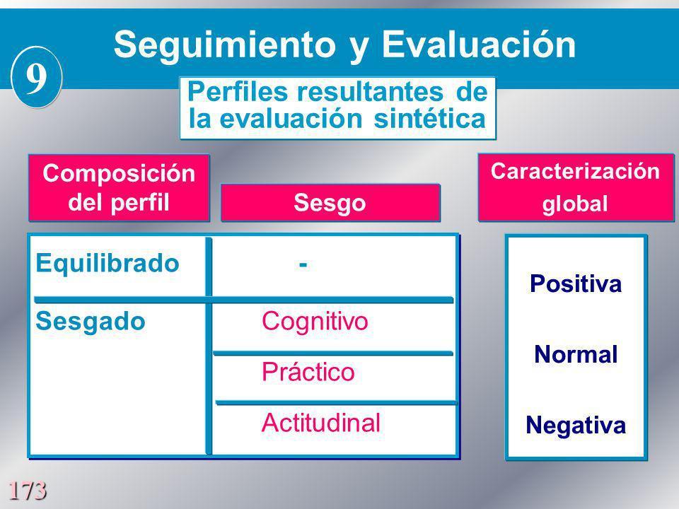 173 Equilibrado - Sesgado Cognitivo Práctico Actitudinal Equilibrado - Sesgado Cognitivo Práctico Actitudinal Positiva Normal Negativa Seguimiento y E
