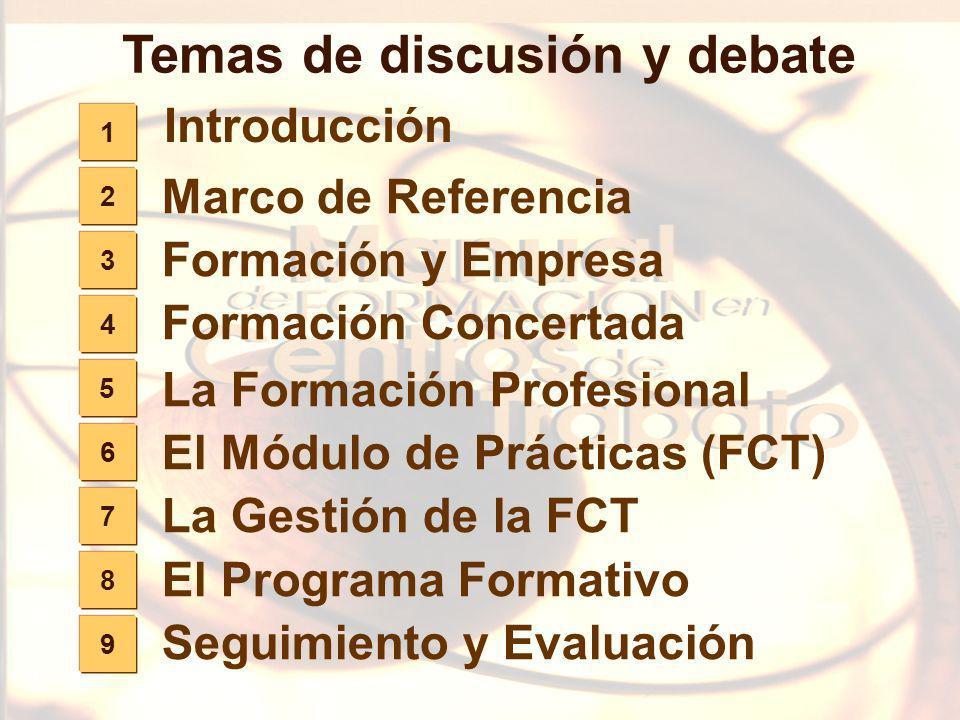 177 9 8 7 6 5 Temas de discusión y debate La Formación Profesional El Módulo de Prácticas (FCT) La Gestión de la FCT El Programa Formativo Seguimiento