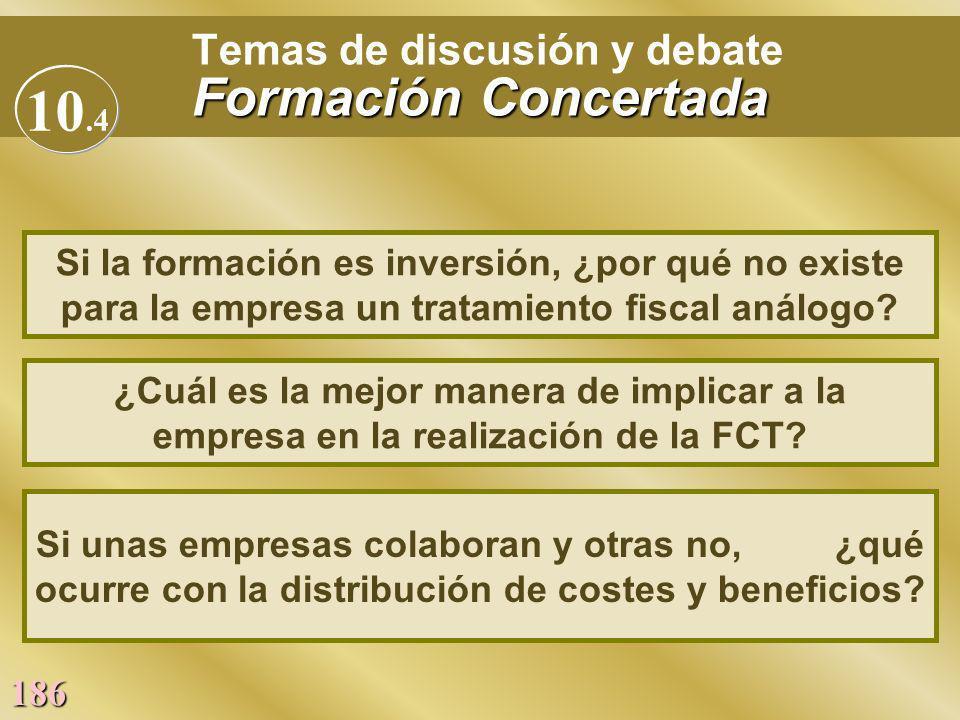 186 Formación Concertada Temas de discusión y debate Formación Concertada ¿Cuál es la mejor manera de implicar a la empresa en la realización de la FC