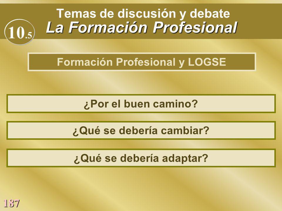 187 La Formación Profesional Temas de discusión y debate La Formación Profesional ¿Qué se debería cambiar? ¿Por el buen camino? ¿Qué se debería adapta