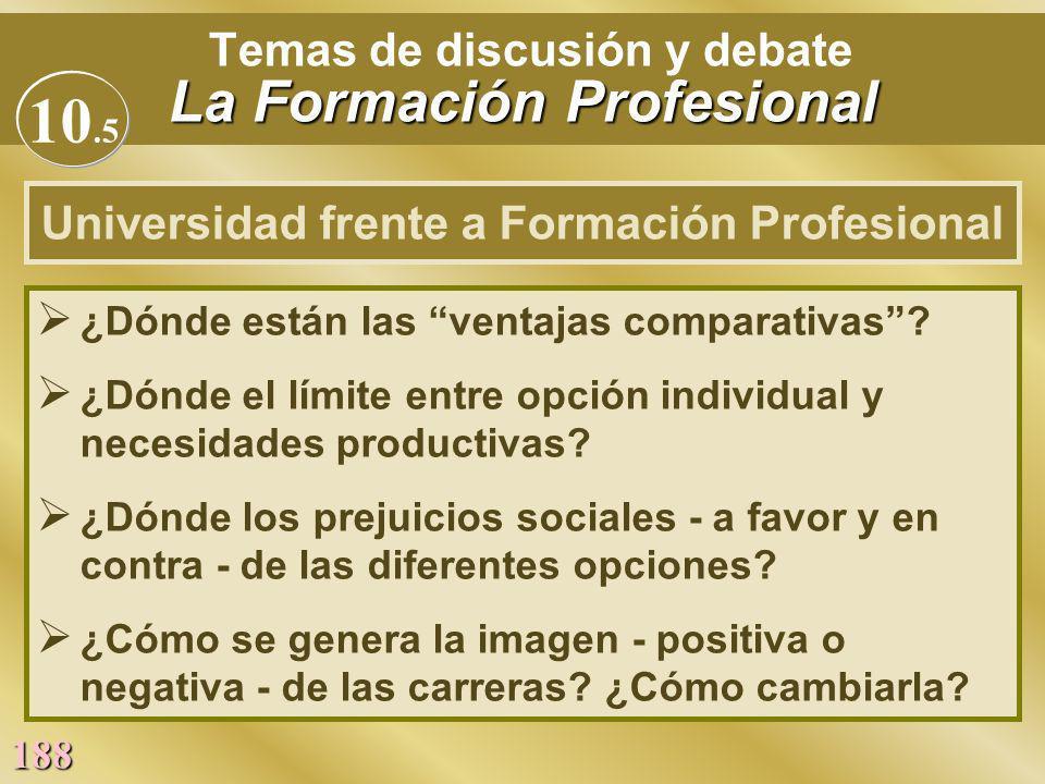 188 La Formación Profesional Temas de discusión y debate La Formación Profesional Ø ¿Dónde están las ventajas comparativas? Ø ¿Dónde el límite entre o