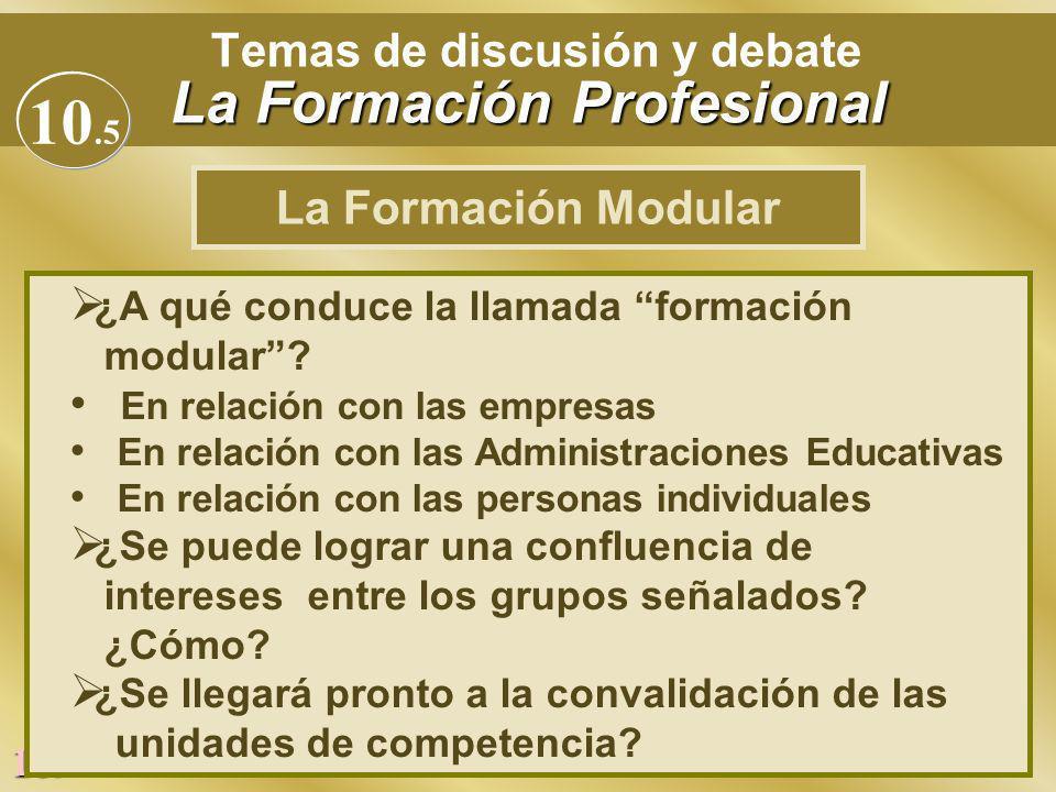 189 La Formación Profesional Temas de discusión y debate La Formación Profesional Ø ¿A qué conduce la llamada formación modular? En relación con las e