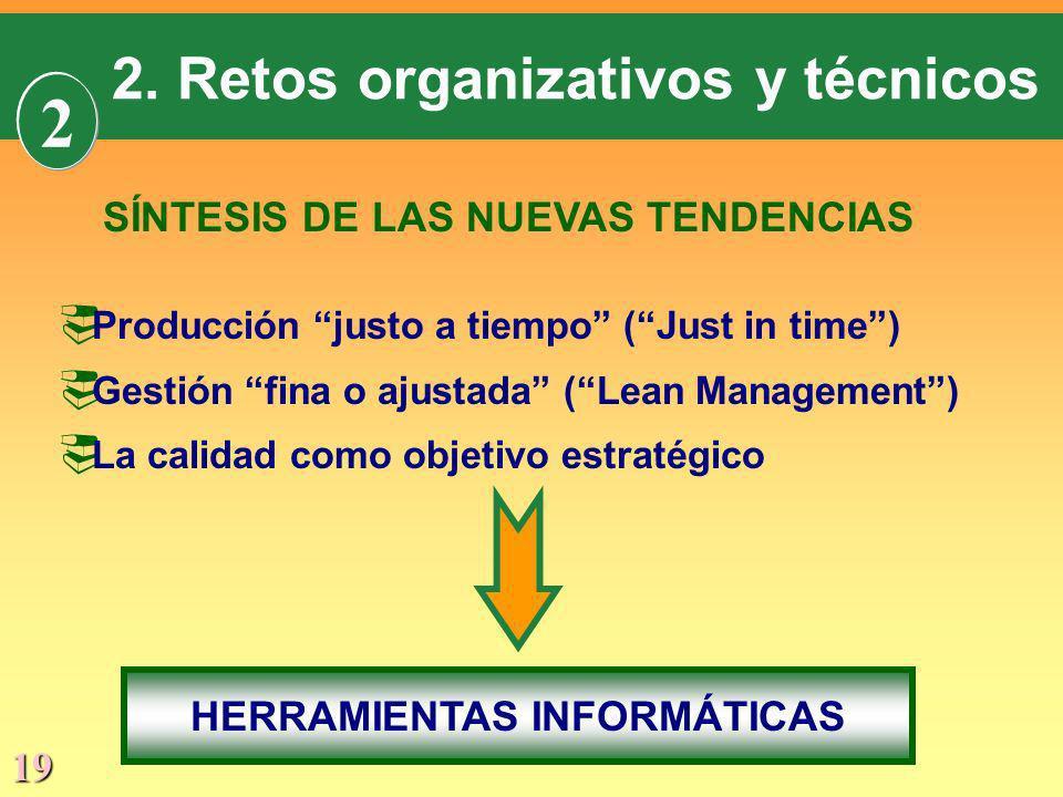 19 SÍNTESIS DE LAS NUEVAS TENDENCIAS Producción justo a tiempo (Just in time) Gestión fina o ajustada (Lean Management) La calidad como objetivo estra