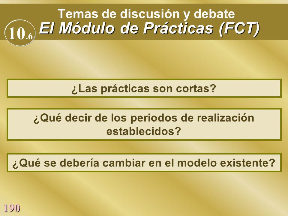 190 El Módulo de Prácticas (FCT) Temas de discusión y debate El Módulo de Prácticas (FCT) ¿Qué decir de los periodos de realización establecidos? ¿Las