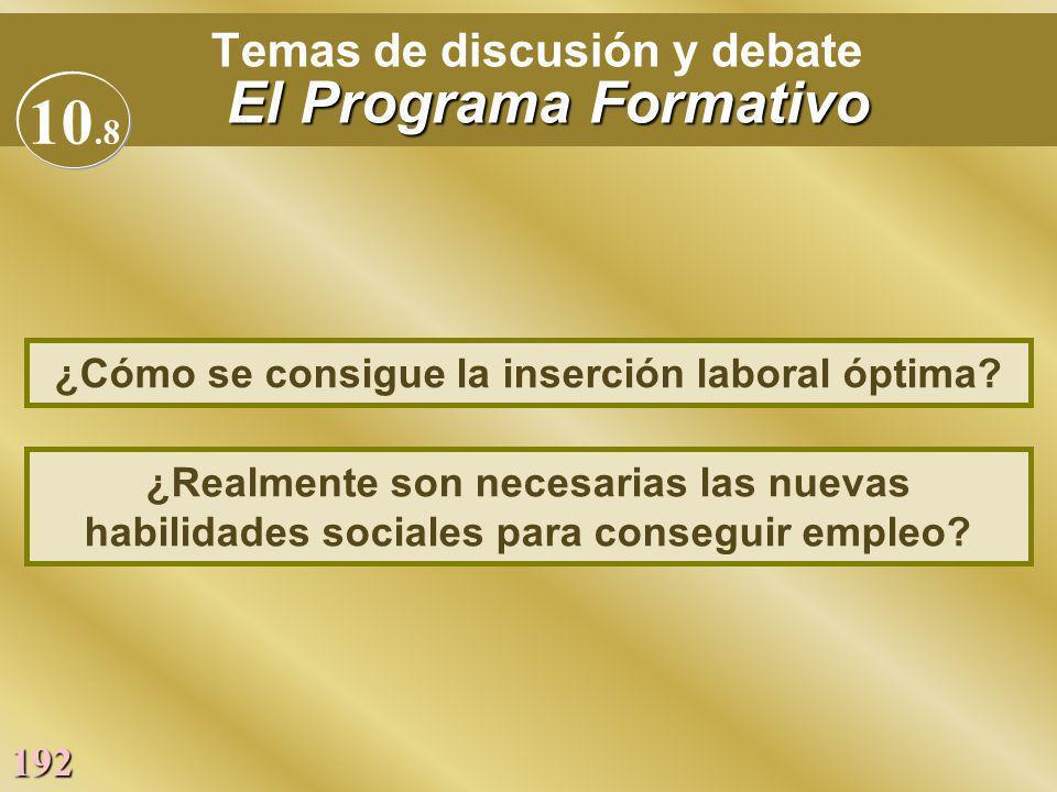 192 El Programa Formativo Temas de discusión y debate El Programa Formativo ¿Realmente son necesarias las nuevas habilidades sociales para conseguir e