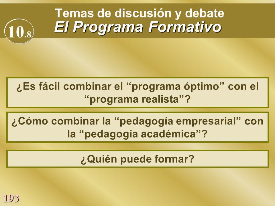 193 El Programa Formativo Temas de discusión y debate El Programa Formativo ¿Cómo combinar la pedagogía empresarial con la pedagogía académica? ¿Es fá