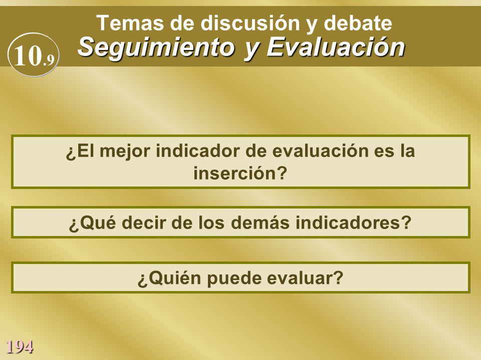 194 Seguimiento y Evaluación Temas de discusión y debate Seguimiento y Evaluación ¿Qué decir de los demás indicadores? ¿El mejor indicador de evaluaci
