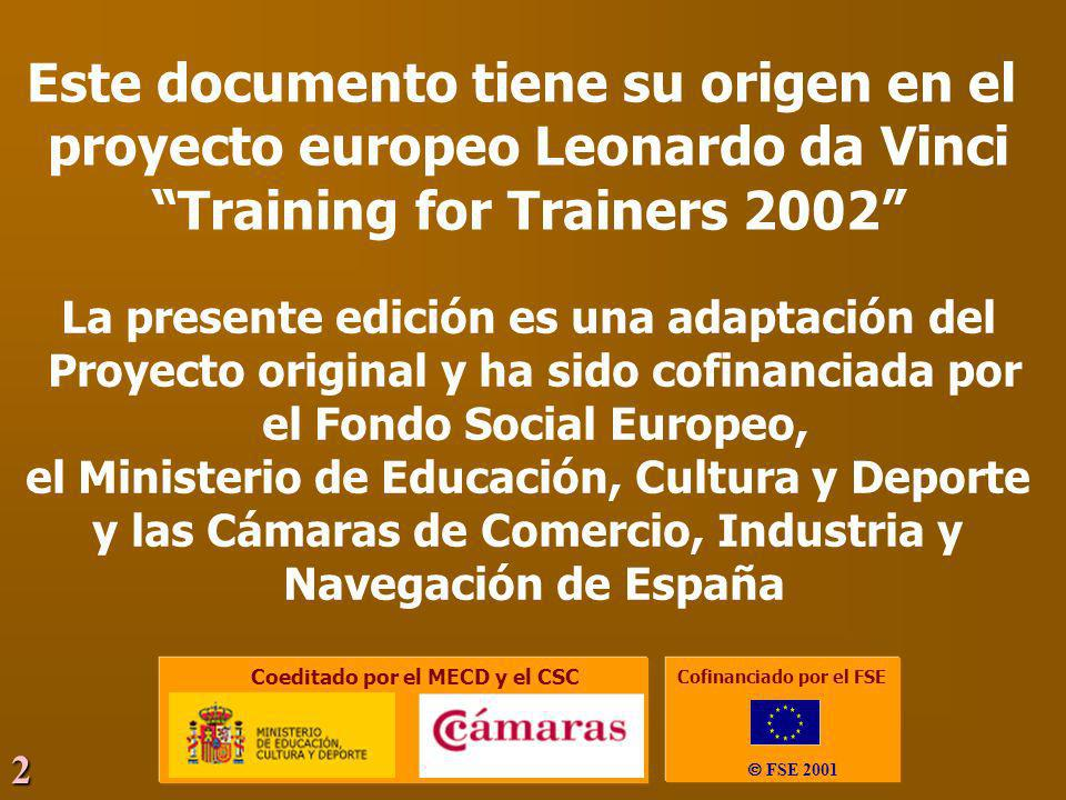 2 Este documento tiene su origen en el proyecto europeo Leonardo da Vinci Training for Trainers 2002 La presente edición es una adaptación del Proyect