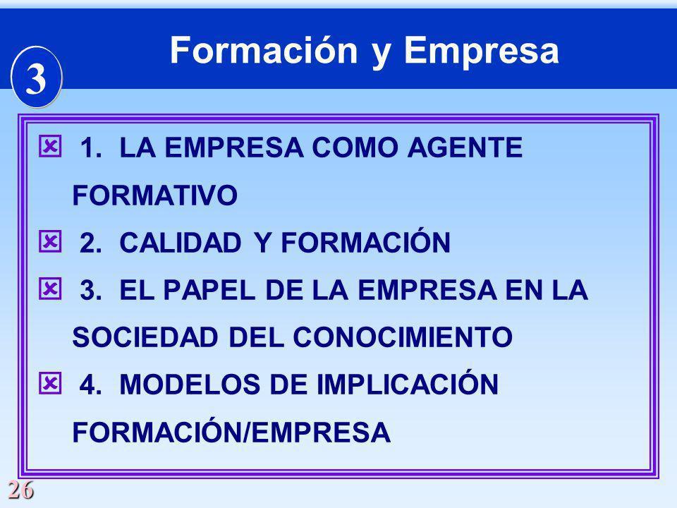 26 Formación y Empresa ý 1. LA EMPRESA COMO AGENTE FORMATIVO ý 2. CALIDAD Y FORMACIÓN ý 3. EL PAPEL DE LA EMPRESA EN LA SOCIEDAD DEL CONOCIMIENTO ý 4.