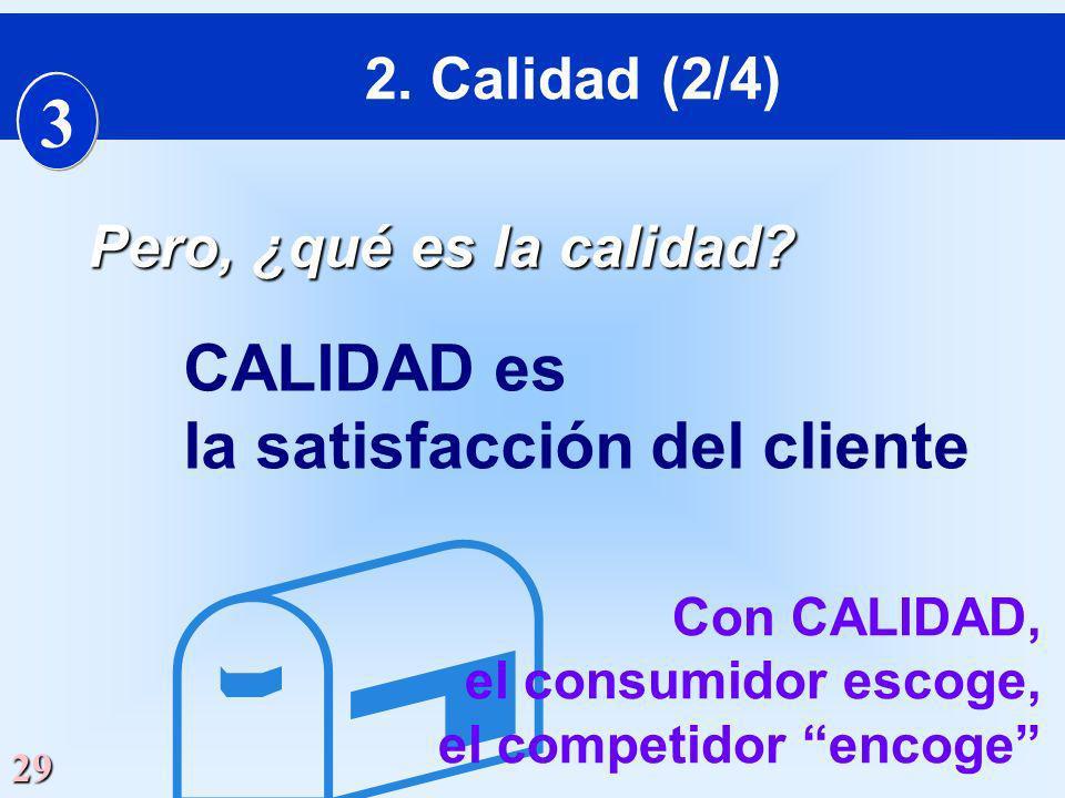 29 Pero, ¿qué es la calidad? CALIDAD es la satisfacción del cliente Con CALIDAD, el consumidor escoge, el competidor encoge 2. Calidad (2/4) 3