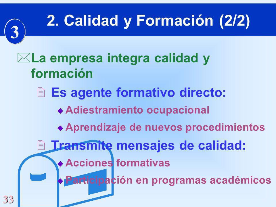 33 *La empresa integra calidad y formación 2Es agente formativo directo: u Adiestramiento ocupacional u Aprendizaje de nuevos procedimientos 2Transmit