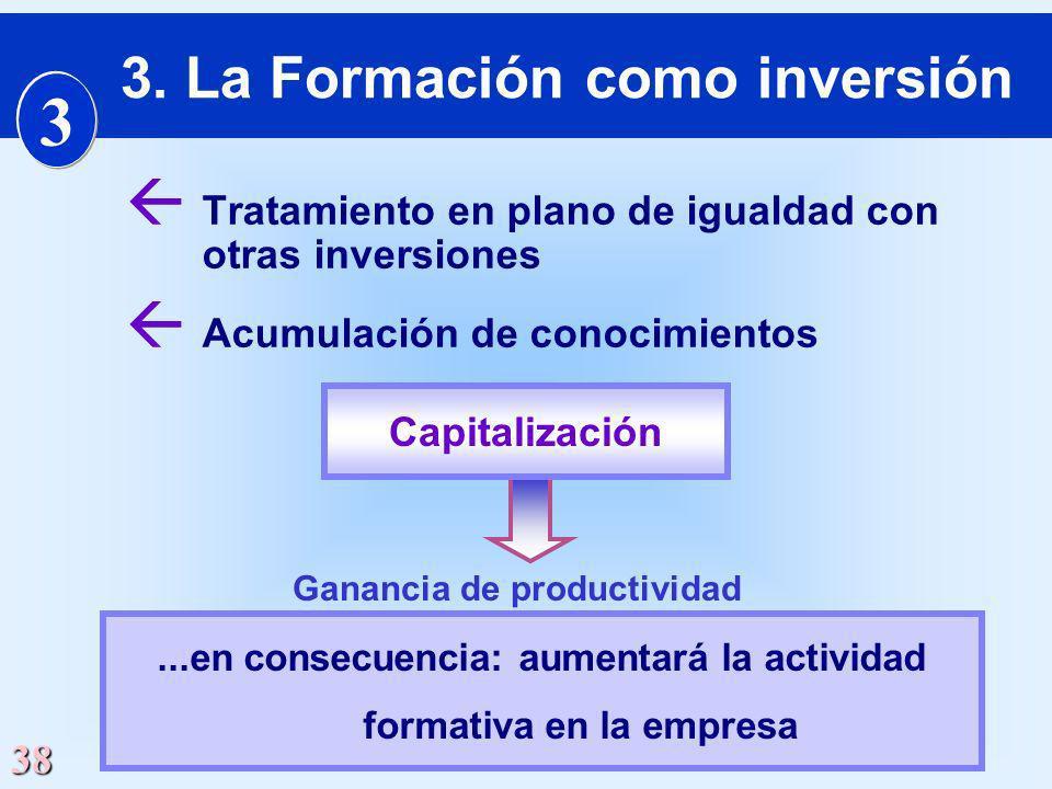 38 ß Tratamiento en plano de igualdad con otras inversiones ß Acumulación de conocimientos...en consecuencia: aumentará la actividad formativa en la e