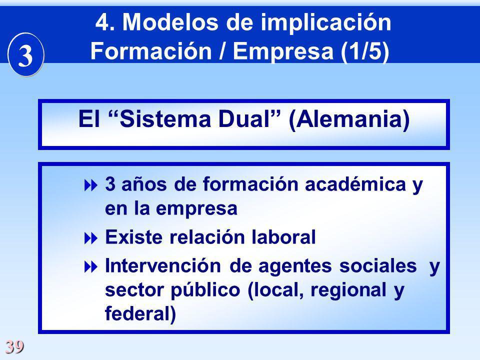 39 3 años de formación académica y en la empresa Existe relación laboral Intervención de agentes sociales y sector público (local, regional y federal)