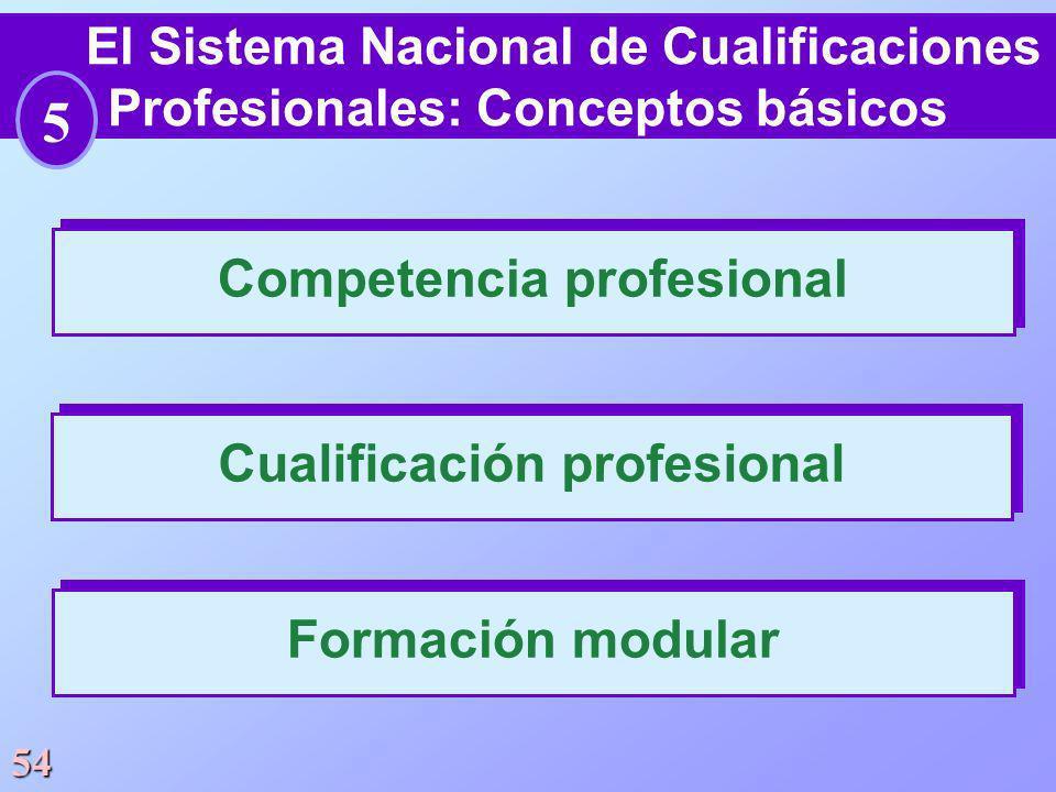 54 Competencia profesional El Sistema Nacional de Cualificaciones Profesionales: Conceptos básicos Cualificación profesional Formación modular 5