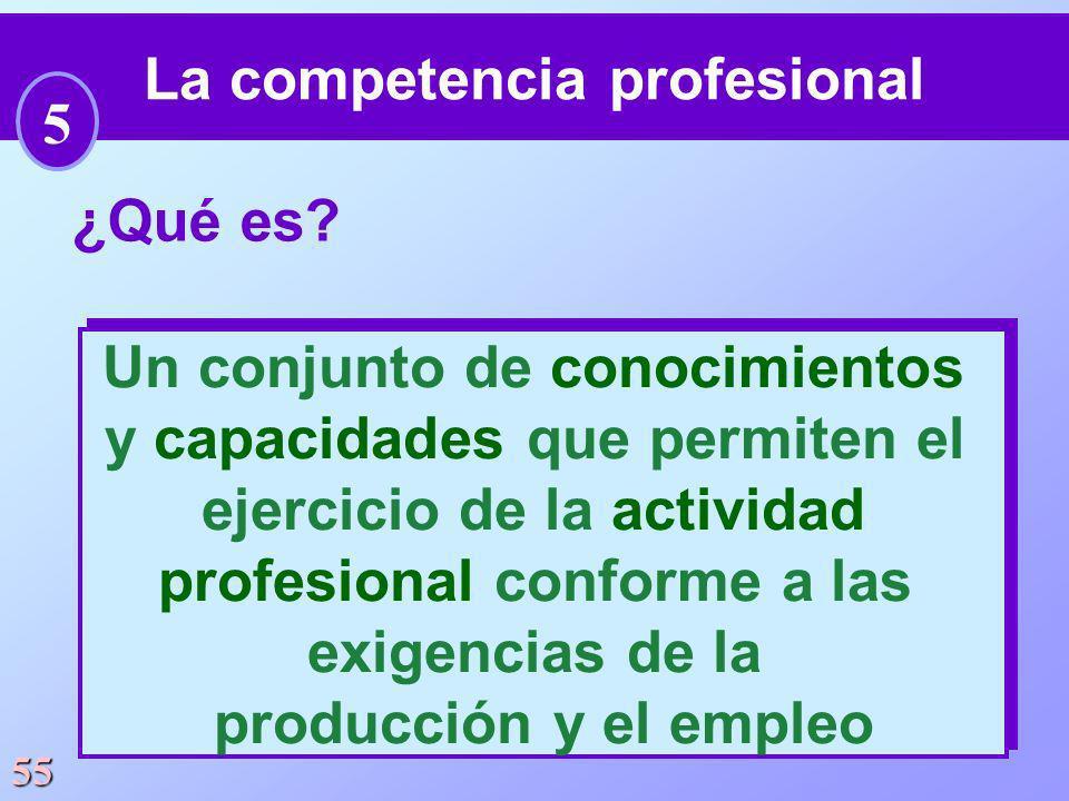 55 ¿Qué es? Un conjunto de conocimientos y capacidades que permiten el ejercicio de la actividad profesional conforme a las exigencias de la producció
