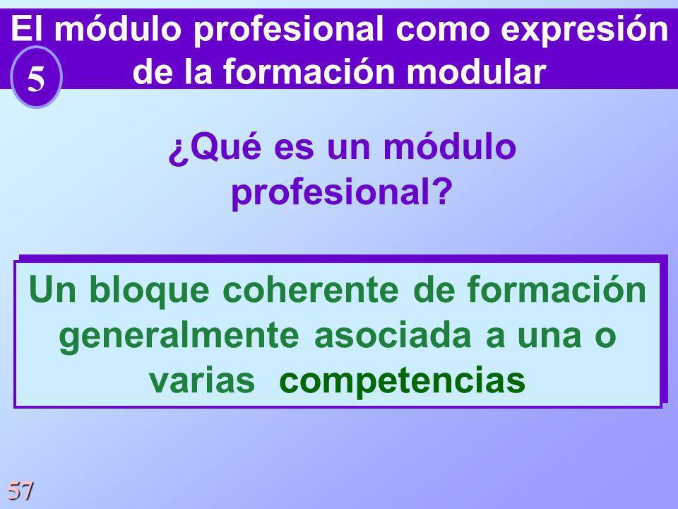 57 ¿Qué es un módulo profesional? Un bloque coherente de formación generalmente asociada a una o varias competencias El módulo profesional como expres