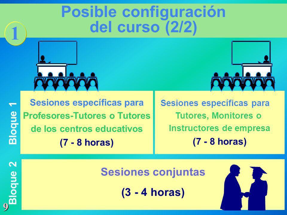 9 Posible configuración del curso (2/2) Sesiones específicas para Profesores-Tutores o Tutores de los centros educativos (7 - 8 horas) Sesiones especí
