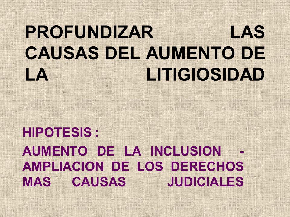 PROFUNDIZAR LAS CAUSAS DEL AUMENTO DE LA LITIGIOSIDAD HIPOTESIS : AUMENTO DE LA INCLUSION - AMPLIACION DE LOS DERECHOS MAS CAUSAS JUDICIALES