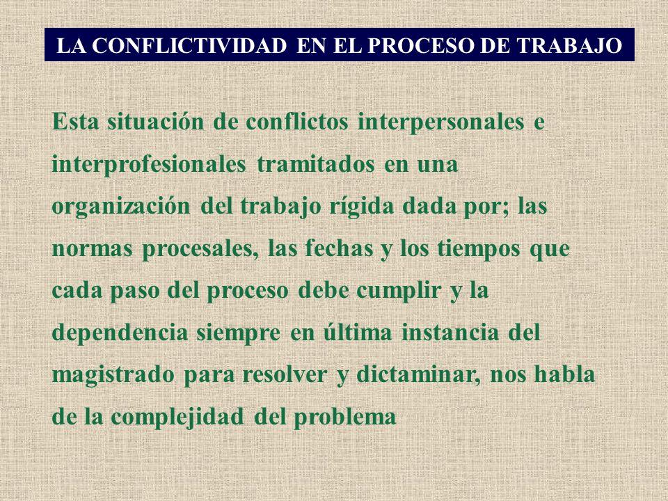 Esta situación de conflictos interpersonales e interprofesionales tramitados en una organización del trabajo rígida dada por; las normas procesales, l