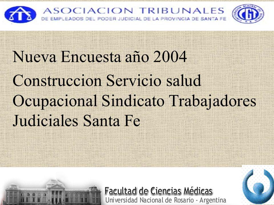 Nueva Encuesta año 2004 Construccion Servicio salud Ocupacional Sindicato Trabajadores Judiciales Santa Fe