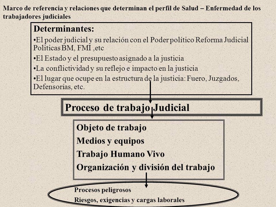 Marco de referencia y relaciones que determinan el perfil de Salud – Enfermedad de los trabajadores judiciales Proceso de trabajo Judicial Determinant