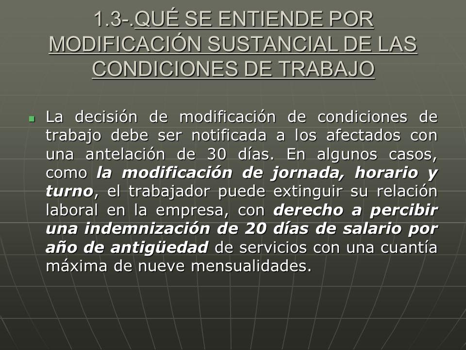 1.3-.QUÉ SE ENTIENDE POR MODIFICACIÓN SUSTANCIAL DE LAS CONDICIONES DE TRABAJO La decisión de modificación de condiciones de trabajo debe ser notifica