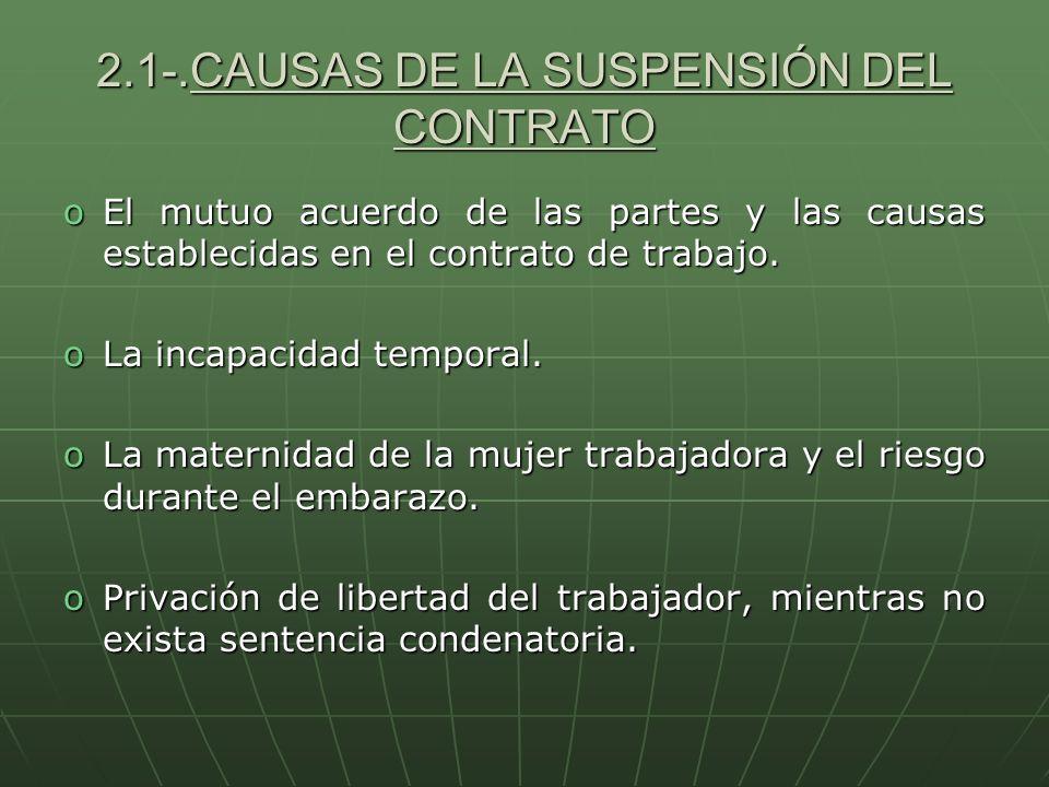2.1-.CAUSAS DE LA SUSPENSIÓN DEL CONTRATO oEl mutuo acuerdo de las partes y las causas establecidas en el contrato de trabajo. oLa incapacidad tempora