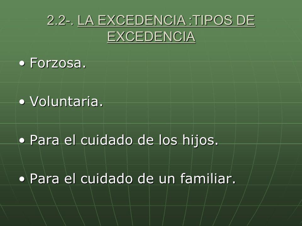 2.2-. LA EXCEDENCIA :TIPOS DE EXCEDENCIA Forzosa.Forzosa. Voluntaria.Voluntaria. Para el cuidado de los hijos.Para el cuidado de los hijos. Para el cu