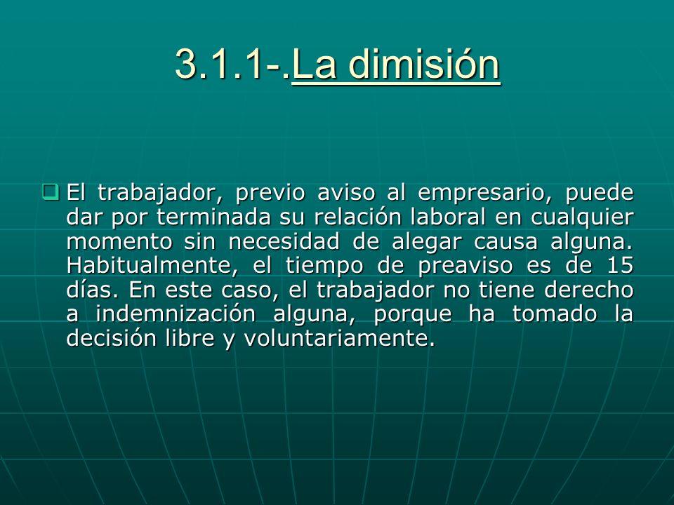 3.1.1-.La dimisión El trabajador, previo aviso al empresario, puede dar por terminada su relación laboral en cualquier momento sin necesidad de alegar
