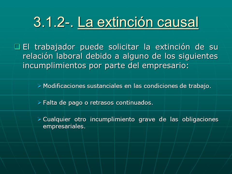 3.1.2-. La extinción causal El trabajador puede solicitar la extinción de su relación laboral debido a alguno de los siguientes incumplimientos por pa