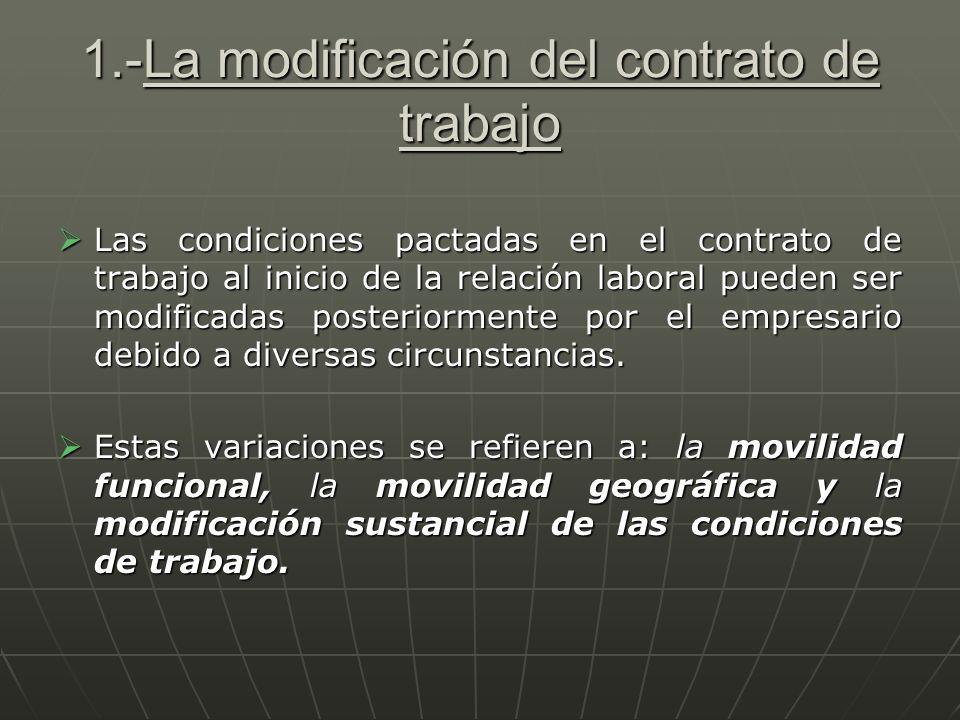 1.-La modificación del contrato de trabajo Las condiciones pactadas en el contrato de trabajo al inicio de la relación laboral pueden ser modificadas