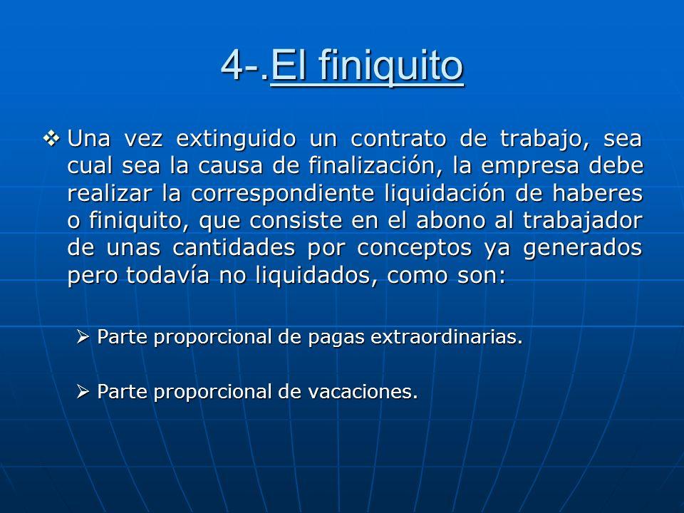 4-.El finiquito Una vez extinguido un contrato de trabajo, sea cual sea la causa de finalización, la empresa debe realizar la correspondiente liquidac