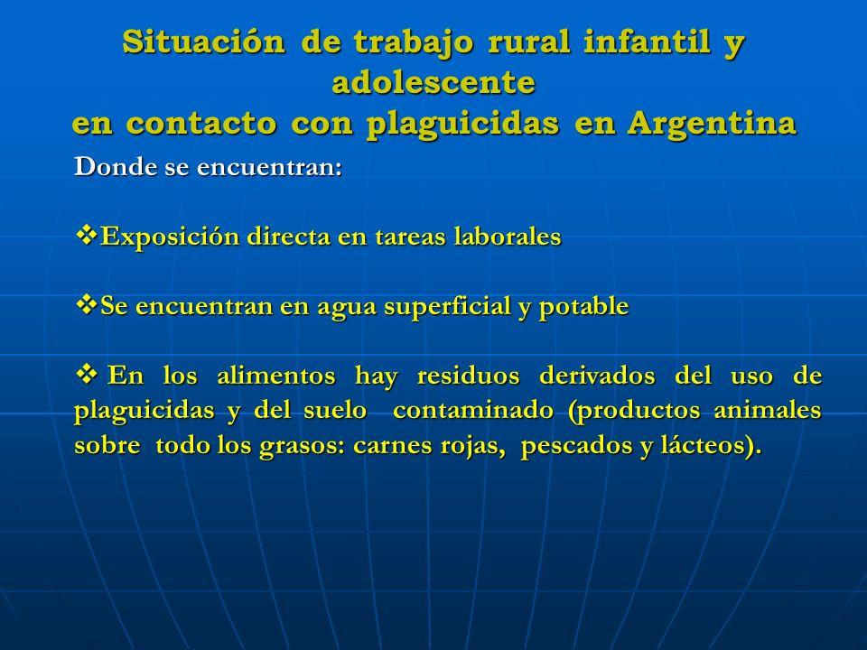 Situación de trabajo rural infantil y adolescente en contacto con plaguicidas en Argentina Donde se encuentran: Exposición directa en tareas laborales
