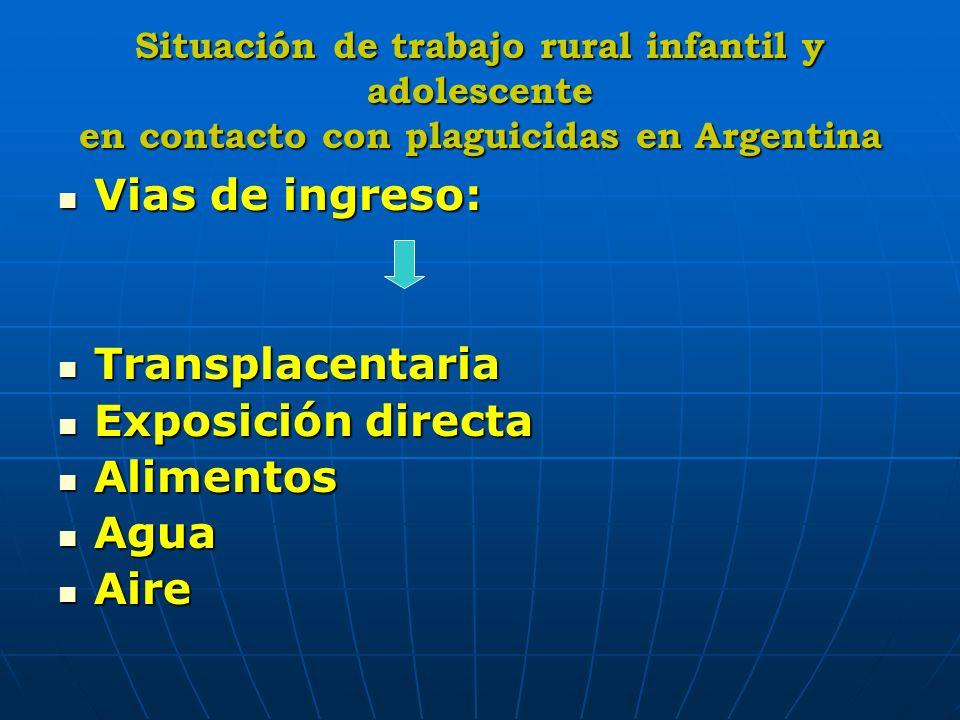Situación de trabajo rural infantil y adolescente en contacto con plaguicidas en Argentina Vias de ingreso: Vias de ingreso: Transplacentaria Transpla