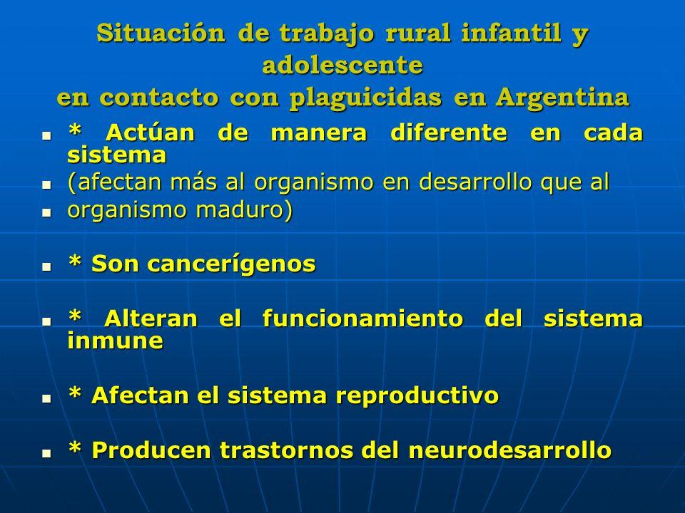 Situación de trabajo rural infantil y adolescente en contacto con plaguicidas en Argentina * Actúan de manera diferente en cada sistema * Actúan de ma