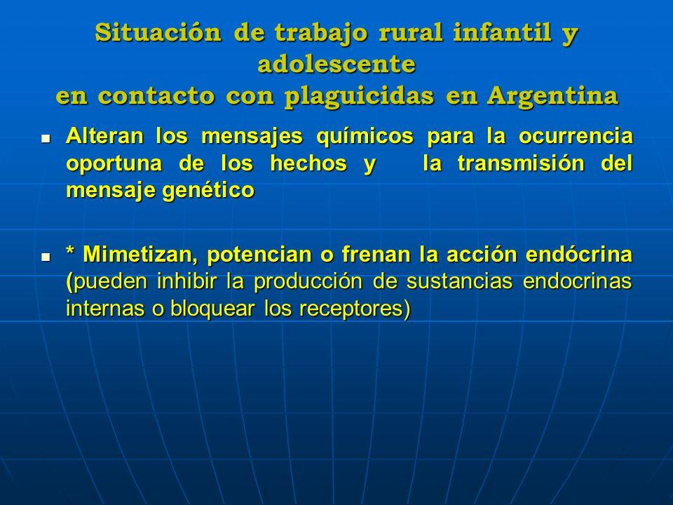 Situación de trabajo rural infantil y adolescente en contacto con plaguicidas en Argentina Alteran los mensajes químicos para la ocurrencia oportuna d
