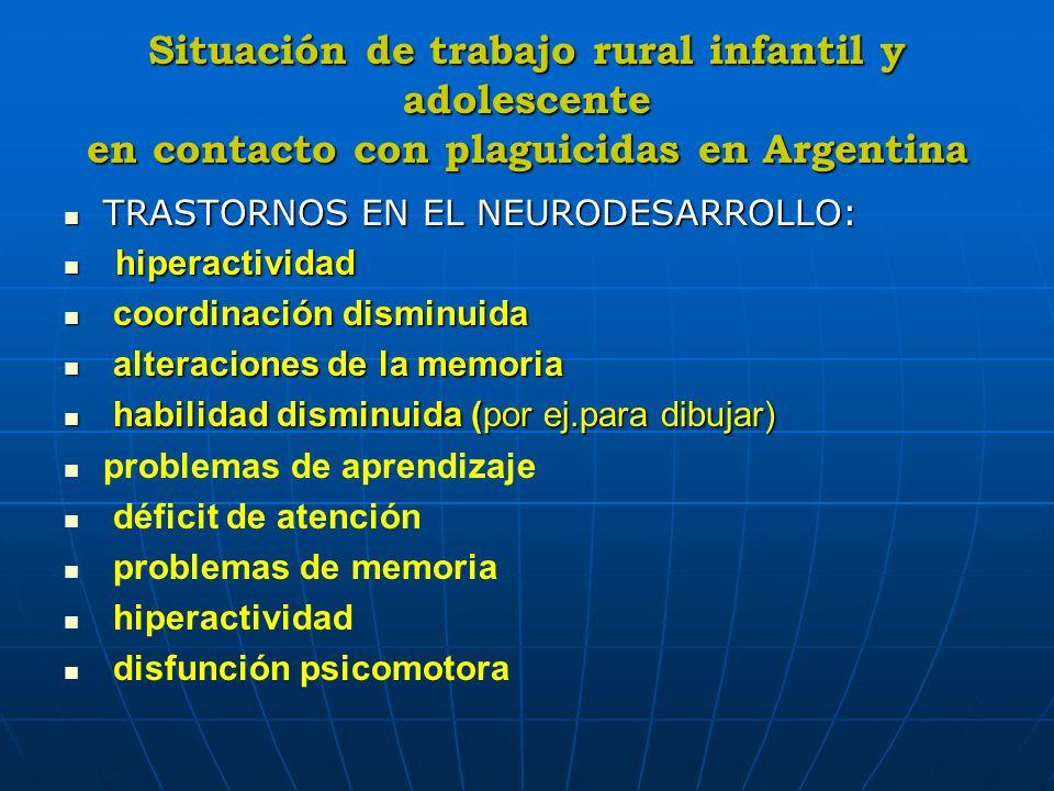 Situación de trabajo rural infantil y adolescente en contacto con plaguicidas en Argentina TRASTORNOS EN EL NEURODESARROLLO: TRASTORNOS EN EL NEURODES