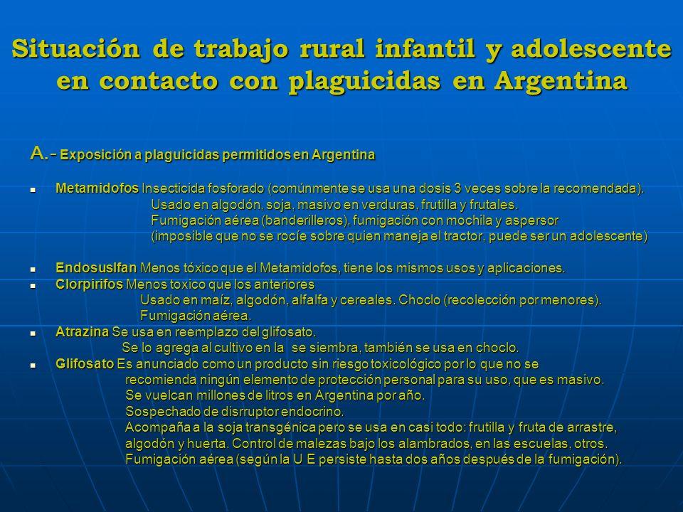 Situación de trabajo rural infantil y adolescente en contacto con plaguicidas en Argentina A.- Exposición a plaguicidas permitidos en Argentina Metami