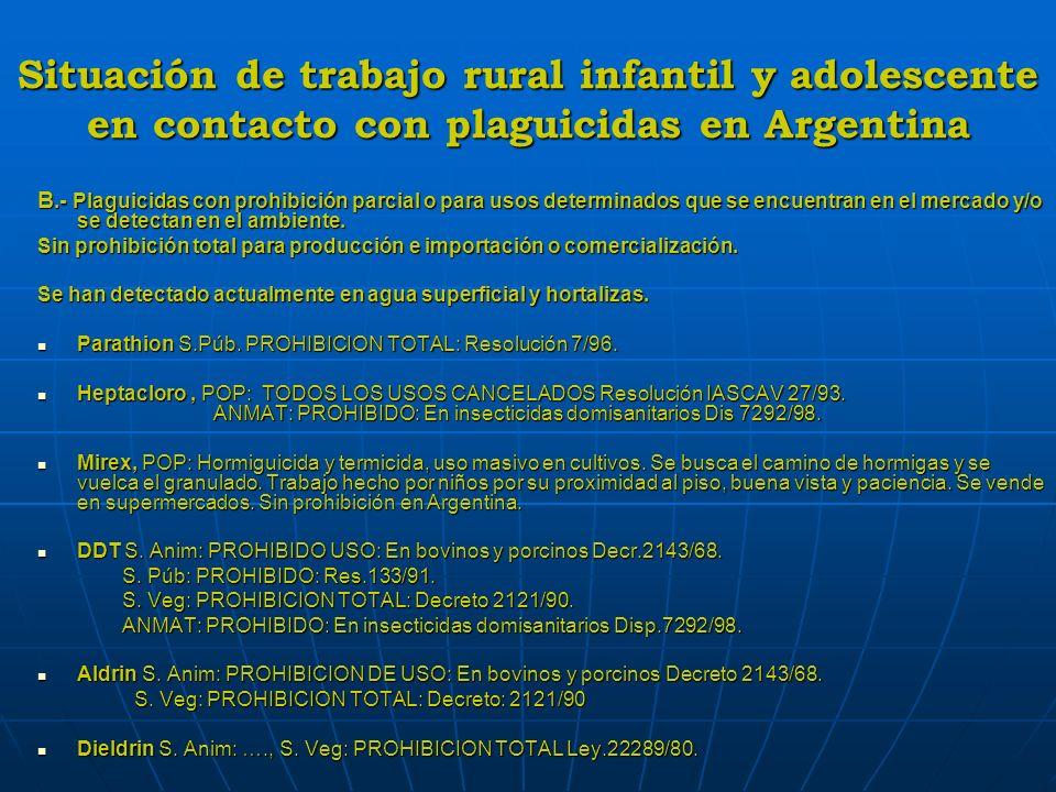 Situación de trabajo rural infantil y adolescente en contacto con plaguicidas en Argentina B.- Plaguicidas con prohibición parcial o para usos determi