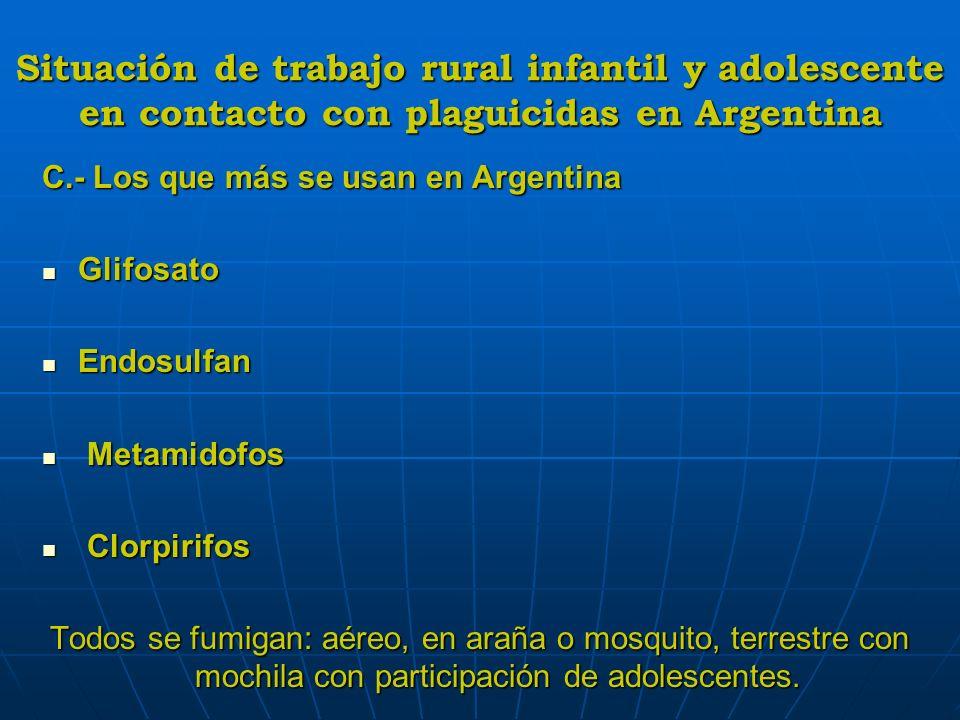 Situación de trabajo rural infantil y adolescente en contacto con plaguicidas en Argentina C.- Los que más se usan en Argentina Glifosato Glifosato En