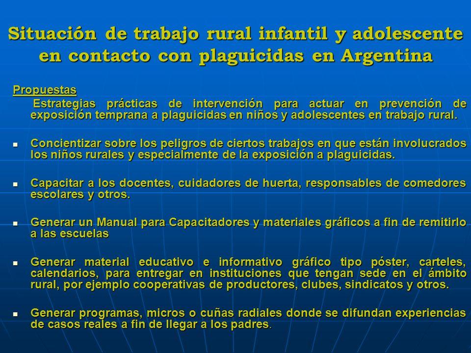 Situación de trabajo rural infantil y adolescente en contacto con plaguicidas en Argentina Propuestas Estrategias prácticas de intervención para actua