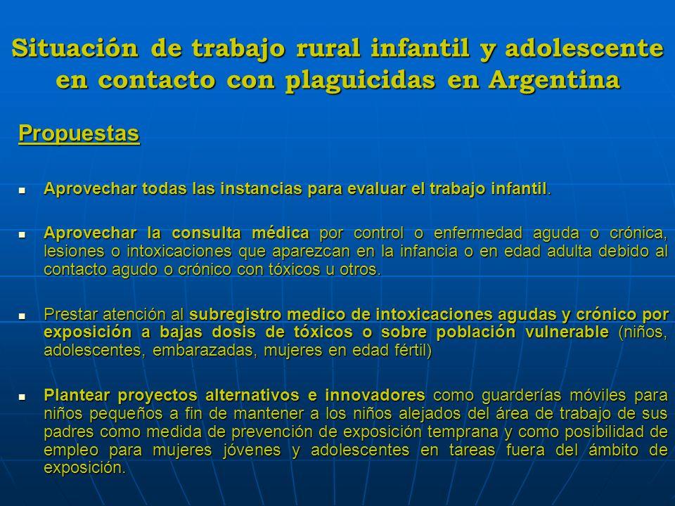 Situación de trabajo rural infantil y adolescente en contacto con plaguicidas en Argentina Propuestas Aprovechar todas las instancias para evaluar el