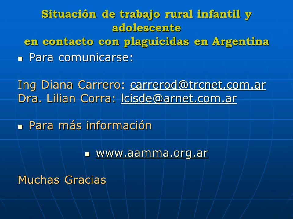 Situación de trabajo rural infantil y adolescente en contacto con plaguicidas en Argentina Para comunicarse: Para comunicarse: Ing Diana Carrero: carr