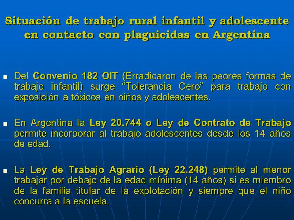 Situación de trabajo infantil rural y adolescente en contacto con plaguicidas en Argentina Diagnostico de situación En Argentina: Listado sobre las peores formas de trabajo infantil en proceso aun no terminado.