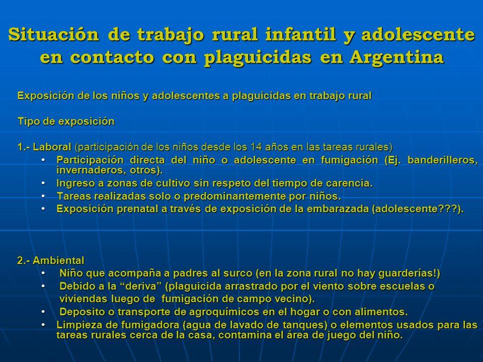 Situación de trabajo rural infantil y adolescente en contacto con plaguicidas en Argentina Labores en las que están involucrados niños y donde hay exposición.