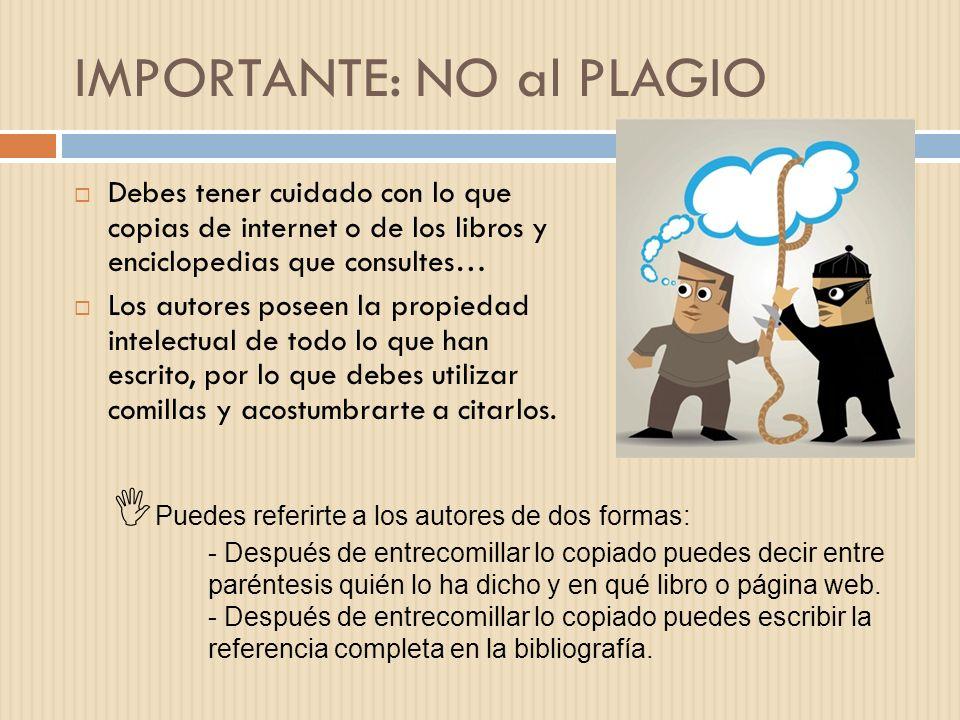 IMPORTANTE: NO al PLAGIO Debes tener cuidado con lo que copias de internet o de los libros y enciclopedias que consultes… Los autores poseen la propie