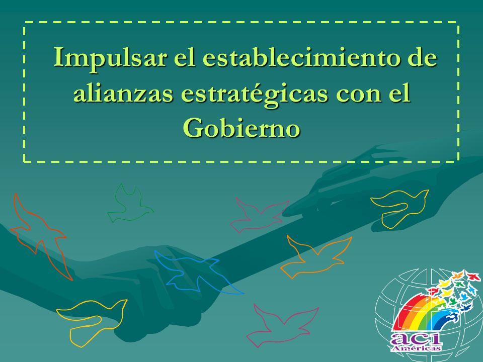Impulsar el establecimiento de alianzas estratégicas con el Gobierno Impulsar el establecimiento de alianzas estratégicas con el Gobierno