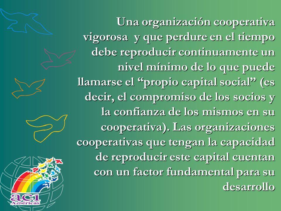 Una organización cooperativa vigorosa y que perdure en el tiempo debe reproducir continuamente un nivel mínimo de lo que puede llamarse el propio capi