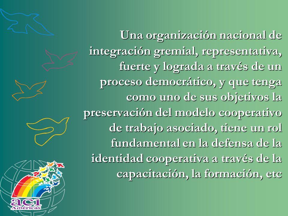 Una organización nacional de integración gremial, representativa, fuerte y lograda a través de un proceso democrático, y que tenga como uno de sus obj